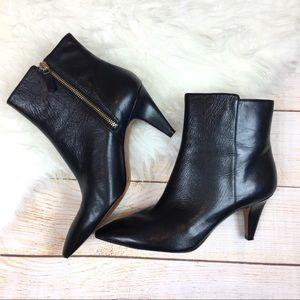 Nine West black leather heeled dress boots Sz 9